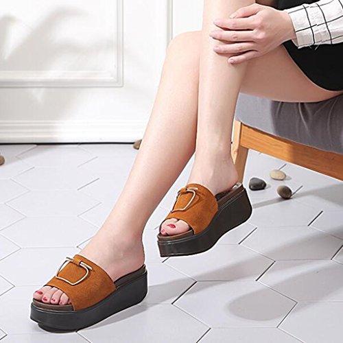 Doigt en Mode Femme Slope Marron Été Chaussons Semelle Bout Hauts Ouvert Décontractées Talons Gommage Polyuréthane Sandales Chaussures 8IRwvFqxq
