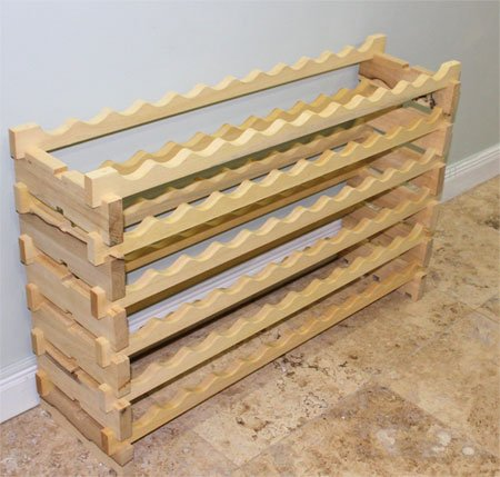 Stackable Wine Rack-72 Bottles Modular Wooden Wine Racks, Very Easy to Put Together, WN-72
