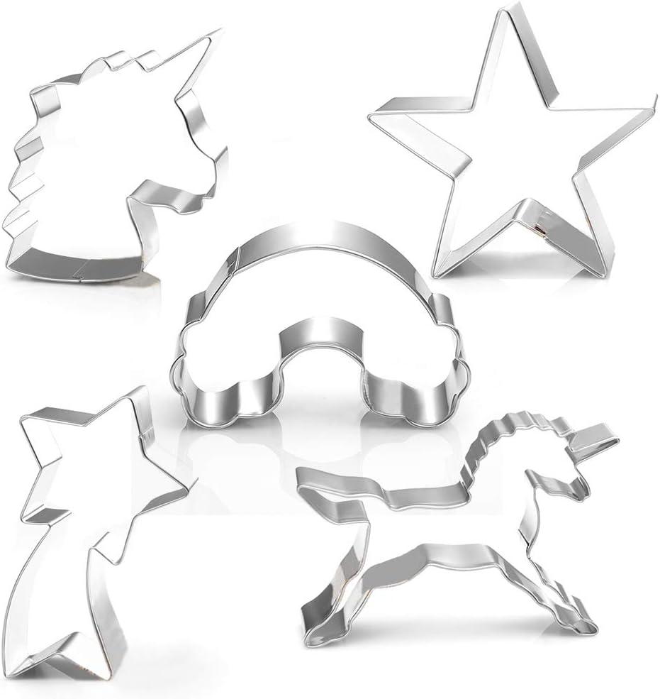 Unicorn Set de 4-licorne unicorn Head Arc-en-ciel /& étoile filante Cookie Cutter