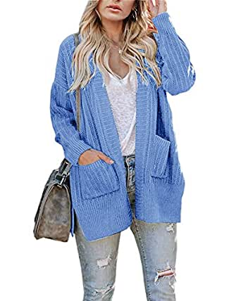 Ivay Womens Plus Size Chunky Cardigan Sweaters Long Sleeve Knitted Open Front Fall Coats with Pockets Blue
