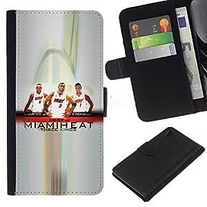Miami Basketball Team - la tarjeta de Crédito Slots PU Funda de cuero Monedero caso cubierta de piel Para Sony Xperia Z4v / Sony Xperia Z4 / E6508