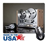 """MSD Natural Rubber Mouse Pad/Mat with Stitched Edges 9.8"""" x 7.9"""" IMAGE ID: 8888683 Vintage Reel to Reel stereo tape deck recorder"""