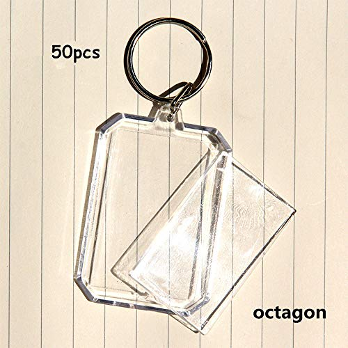 King&Pig 50pcs Key Chains Key Rings with Transparent Clear Picture Photo Frames can open Keychains ()