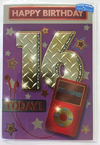 Amazon Age 16th Birthday Greeting Card 16 Today Boy Ipod