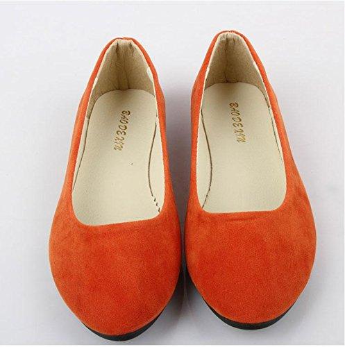 ginnastica casual casual amp; camminate orange scarpe mocassini pelle carriera scamosciata piatto Scarpe LvYuan tacco CN42 da amp; scarpe pigro da ufficio moda comodità donna qwnUZ4PO