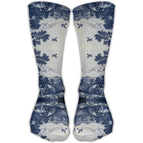 (Women's Classic Delft Blue Ceramic Tile Inspired Pattern (3871) Model Knee High Nursing Travel Comfortable Compression Socks, Women's Shoe Size 5-10)