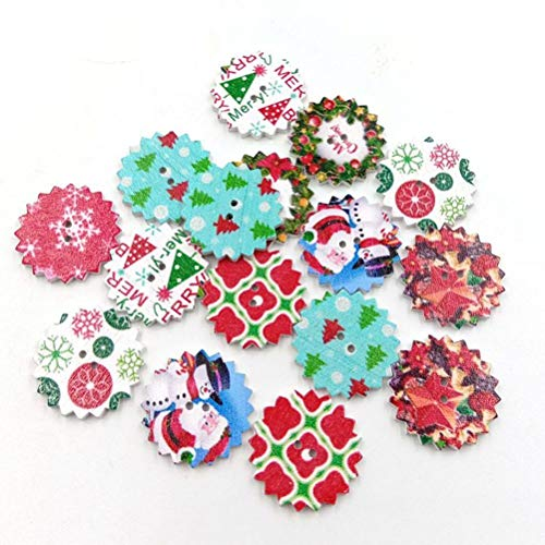 50Pcs Wood Buttons Christmas Style Cartoon Colorful DIY Wooden Press Studs Snaps