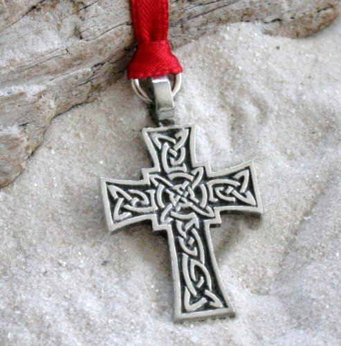 Pewter Celtic Knot Cross Irish Christmas Ornament and Holiday Decoration (Ornament Celtic Cross Christmas)