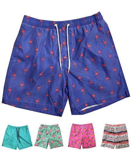 - INGEAR Little Boys Quick Dry Beach Board Shorts Swim Trunk Swimsuit Beach Shorts with Mesh Lining (Blue Flamingo, 6/7)