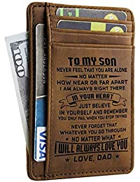 Engraved Leather Front Pocket Wallet Custom Wallet RFID Blocking Minimalist Slim Waller Personalized Gift For Family