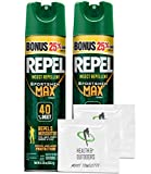 Repel Sportsmen Max Aerosol Insect Repellent Bonus, 40% Deet, 8.125 oz - 2 Count - with BONUS HealthandOutdoors Moist Towelettes