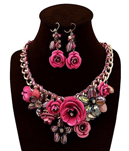 SEKAISORA Ms. Rose Necklace Pendant Transparent Large Resin Crystal Flower Necklace Earrings Set Statement Mei (Flower Earrings Costume Jewelry)