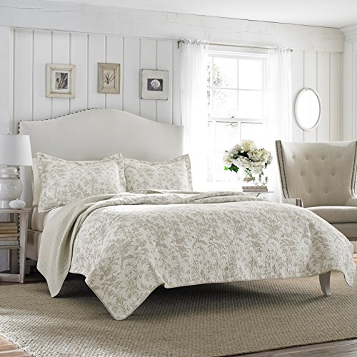 Laura Ashley Amberley Reversible Quilt Set, Full/Queen, - Toile Green Sage