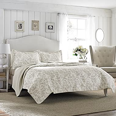 Laura Ashley Amberley Reversible Quilt Set, King, Bisquit