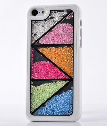 Big Mango Deluxe Bling Colorful Moving Diamond Rhinestone Protective Shell / Hard Back Case Cover for Apple iPhone 5C with Triangle Patterns ( At&t, Sprint, Verizon ) - White (Colorful Cases Iphone 5c)