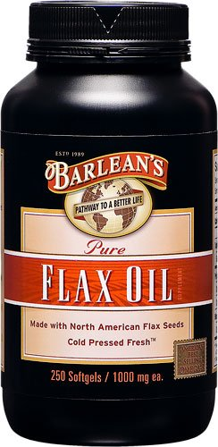 Barlean's Pure Flax Oil -- 1000 mg - 250 Softgels - 3PC