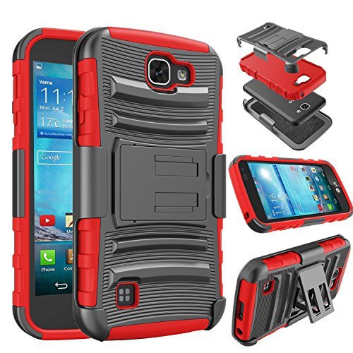 LG K4 Case, LG Optimus Zone 3 Case, Tinysaturn(TM) [Ystorm Series] [Red] Shock Absorbing Belt Clip Holster Kickstand Rugged Hard Shell Heavy Full Protection Cover Case For LG Rebel LTE /LG Spree