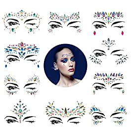 10 Sets Mermaid Face Gems Glitter – Rhinestone Rave Festival Face Jewels,Bindi Crystals Face Stickers, Eyes Face Body Stickers for Music Festivals Bohemian (Mermaid Tale)