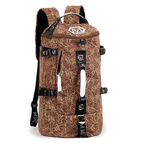 Los Hombres De Personalidad Mochila, Bolsa De Viaje De Ocio, Ordenador Shoulder Bag, Travel Bag, Bolsa De Equipaje, Juventud,Color Azul Y Blanco Coffee stamp