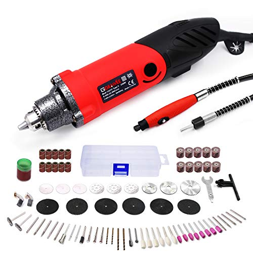 - GOXAWEE Rotary Tool Kit 240W/2.2 Amp - 82Pcs Multifunctional Power Tool Set with 1/4 inch Universal 3-Jaw Chuck (0.5-6 mm Collet), 6 Step Variable Speed, Advanced Flex Shaft & Versatile Accessories
