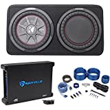 Kicker 43TCWRT104 10 Slim Car Subwoofer+Sub Box w/Passive Radiator+Amp+Wire Kit