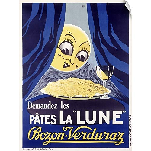 CANVAS ON DEMAND Les Pates la Lune, Pasta and Moon, Vintage Poster Wall Peel Art Print, - Wine Pate