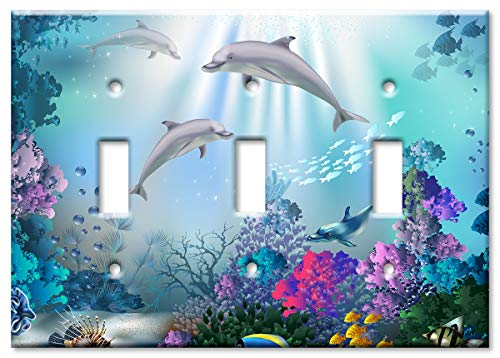 Art Plates 3-Gang Toggle OVERSIZE Switch Plate/OVER SIZE Wall Plate - Dolphins (Dolphin Switchplate)
