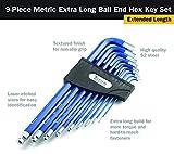 Titan 12714 9-Piece Extra-Long Arm Ball Tip Metric
