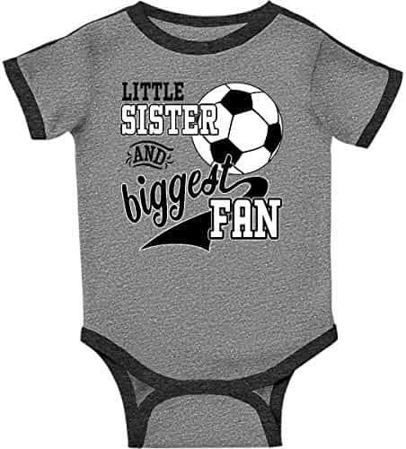 daf492458 inktastic - Little Sister and Biggest Fan- Soccer Player Infant Creeper  2c19a