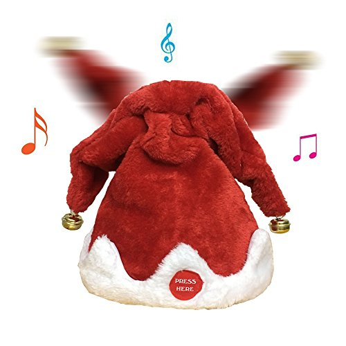 Tonsen Plush Musical Christmas Santa Hat Merry Christmas Hat Party,funny Dancing Hat,Best christmas gifts,(2 Bells) ¡