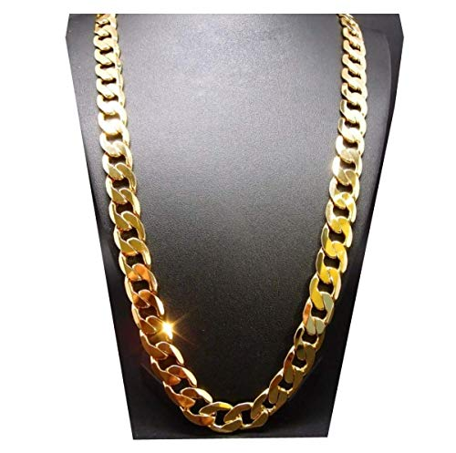 (Gold Chain Necklace 7MM 24K Diamond Cut Smooth Cuban Link with a Warranty of A Lifetime USA Made! (20))