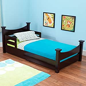 KidKraft Addison Toddler Bed, Espresso, Bed rails keep kids safe and secure
