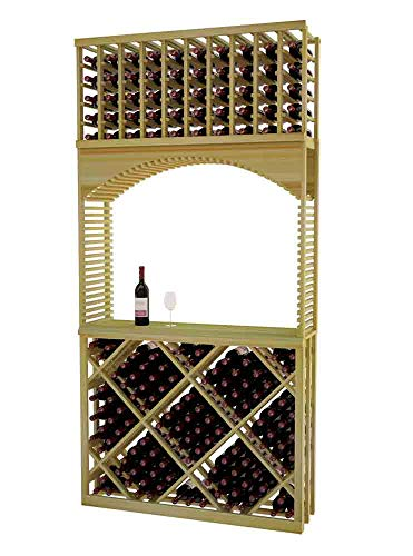 Designer Series Wine Rack - Tasting Center with Open Diamond Bin - 8 Ft - Pine Unstained - No Lacquer