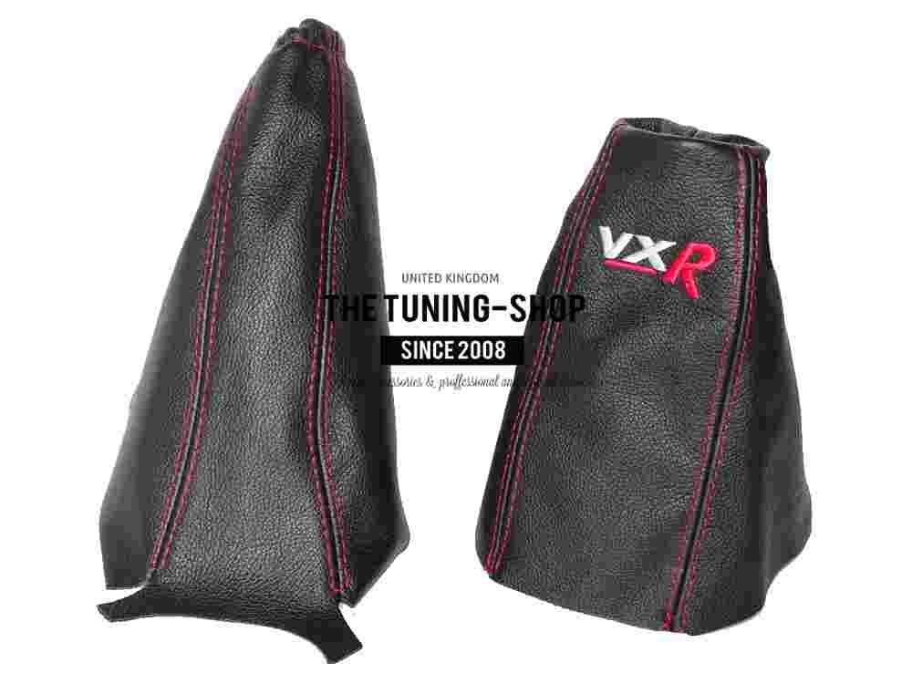 GEAR HANDBRAKE GAITER BLACK LEATHER RED VXR LOGO EMBROIDERY