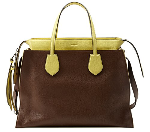 Gucci Brown and Yellow Ramble Leather Layered Tote Shoulder Bag (Handbag Tote Purse Bag Gucci)