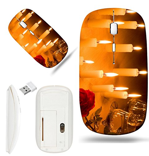 Luxlady Wireless Mouse White Base Travel 2.4G Wireless Mice with USB Receiver, 1000 DPI for notebook, pc, laptop, computer, mac design IMAGE ID 1930429 Romantic table with flaming heart of candles two