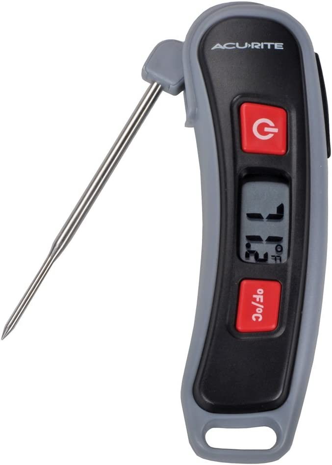 AcuRite 00665E Digital Instant Read Thermometer with Folding Probe, Multicolor