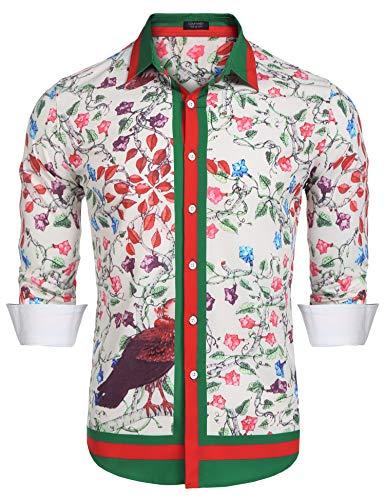 Gucci Mens Dress Shirts - COOFANDY Men's Floral Dress Shirt Long Sleeve Slim Fit Casual Fashion Luxury Printed Button Down Shirt Pink