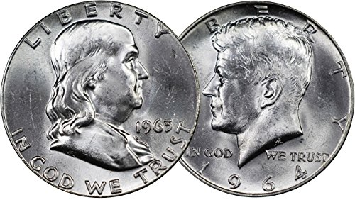 (Vintage U.S. Silver Half Dollar 2-Coin Set - 1963 Franklin Half Dollar and 1964 Kennedy Half Dollar, Mint State Condition)