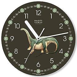 Happy Virus Kids Silent Educational Dinosaur Wall Clock, Apatosaurus, 11, Olive Green