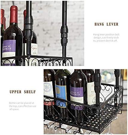 LJWJ Estante para Vino, Bar, Restaurante, Colgante, Estante para Copas de Vino, Estante de Alenamiento de Hierro de Metal, Copas de Vidrio para Champán Y Vino, Estante para Vasos, Soporte para Botell