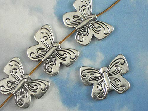 (5 Butterfly Beads Butterflies Silver Tone Hill Tribes Style Bead 22mm Vintage Crafting Pendant Jewelry Making Supplies - DIY for Necklace Bracelet Accessories by)