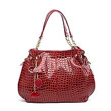Hoxis Tassel Glossy Crocodile Pattern Patent Faux Leather Chain Handle Womens Hobo Shoulder Handbag