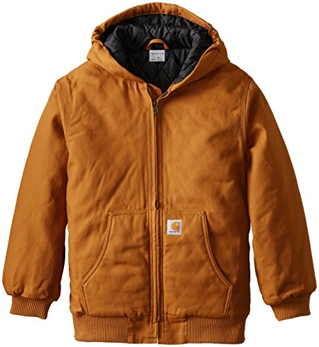 Carhartt Big Boys' Work Active Jacket, Carhartt Brown, Large/14/16 (Quilted Kids Jacket)
