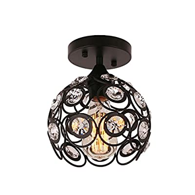 Unitary Brand Antique Black Metal Crystal Hollow Semi Flush Mount Ceiling Light with 1 E26 Bulb Socket 40W Painted Finish