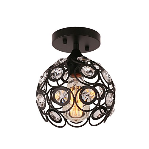 Unitary Brand Antique Black Metal Crystal Hollow Semi Flush Mount Ceiling Light with 1 E26 Bulb Socket 40W (Semi Flush Crystal Lighting)