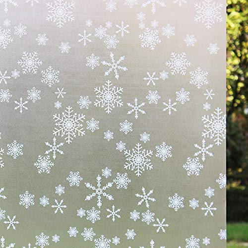 Niviy White Snowflakes Window Clings Decal Stickers Window Privacy Film Static Decorative Film Non-Adhesive Heat Control Anti UV 17.7In. by 78.7In. (45 x 200Cm)
