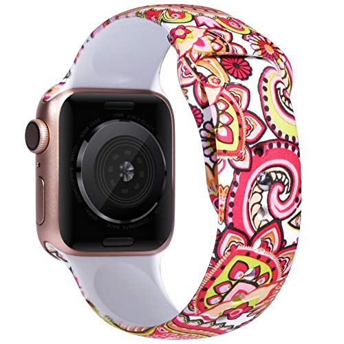 EXCHAR Compatible with Floral Apple Watch Band 44mm 42mm Women Soft Comfortable Silicone Replacement Sport Band for iWatch Series 4/3/2/1 with Cute and Durable Pattern Printing M/L Gorgeous Flowers - Durable Printing