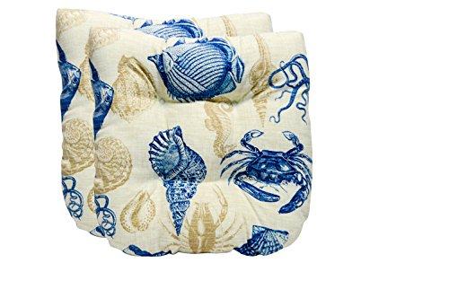 Ivory Wicker Chair - Set of 2 - Universal Tufted U-shape Cushions for Wicker Chair Seat- Blue, Tan, Ivory Nautical Ocean Life - Fish, Crab, Seashell