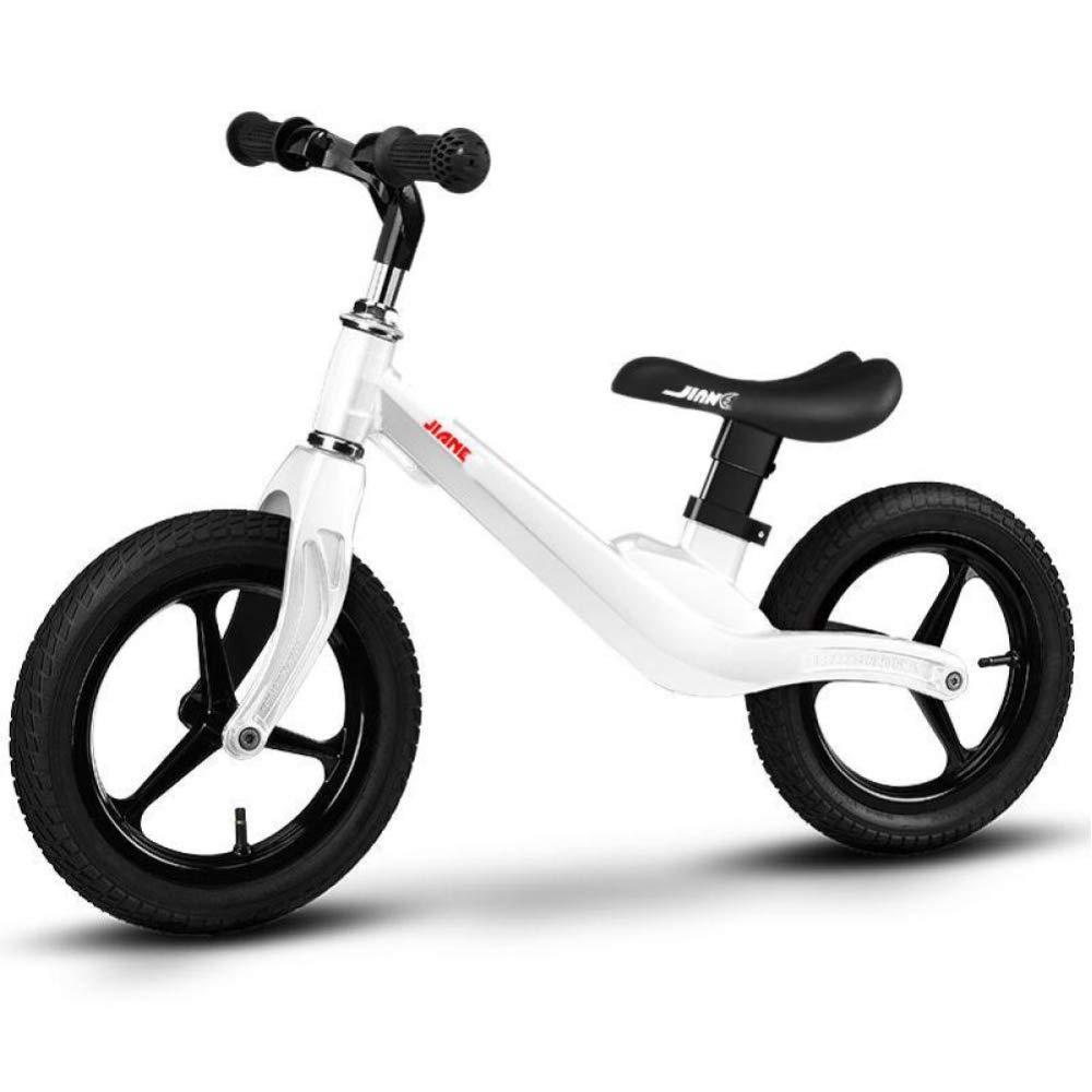 CHRISTMAD Balance Bike Kids No-Pedal Fahren Lernen Verstellbare Sitzhöhe Aluminium-Rahmen Für Alter Von 2 Bis 6 Jahren,Weiß_Rubberwheel